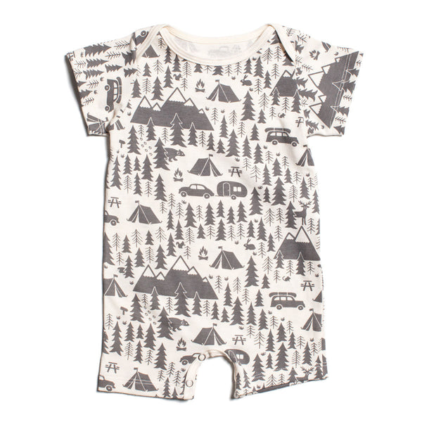 Winter Water Factory Campground Grey Short Sleeve Romper - Frolicstyle