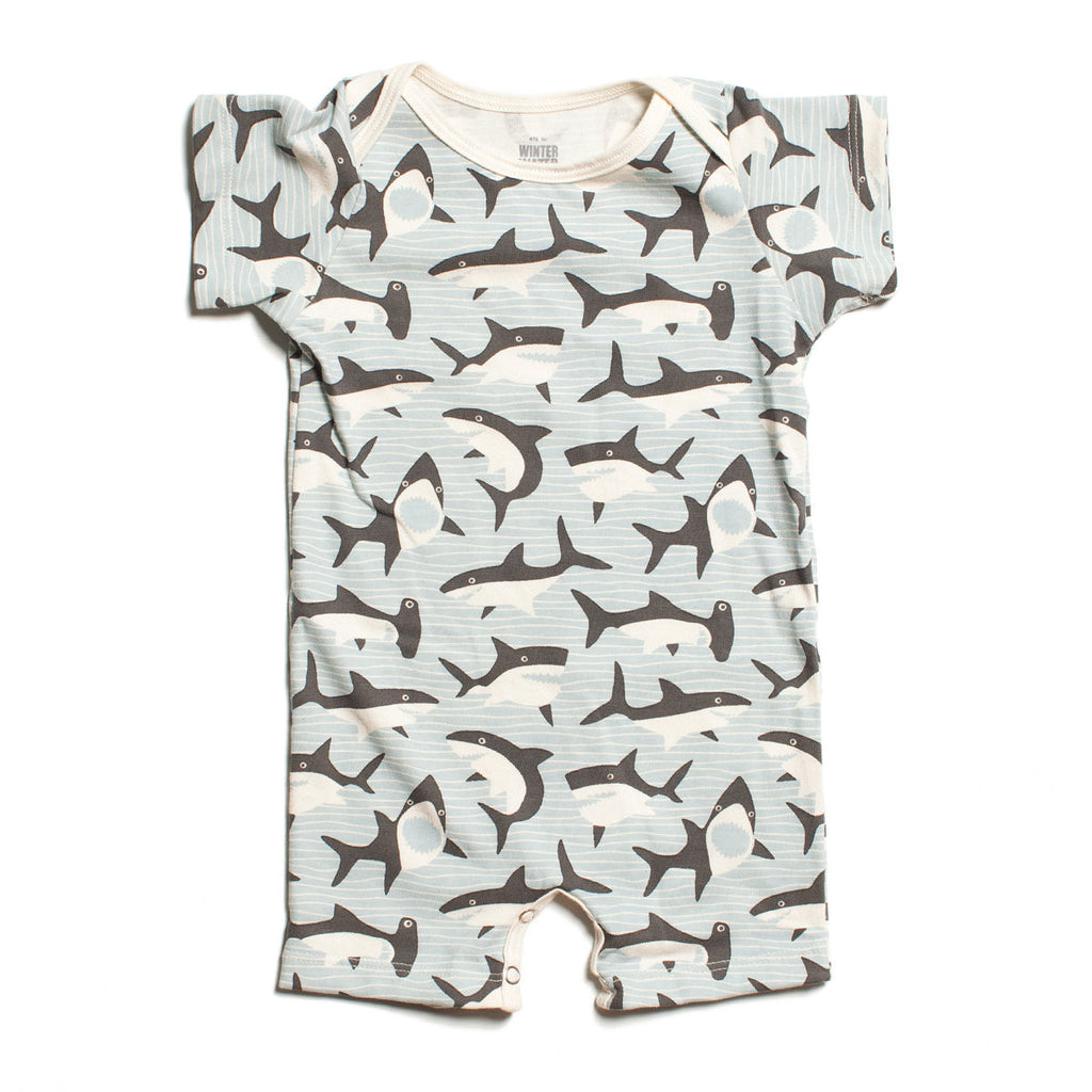 Winter Water Factory Sharks Grey Short Sleeve Romper - Frolicstyle