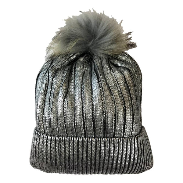Bari Lynn Silver Metallic Fur Tipped Winter Hat - Frolicstyle