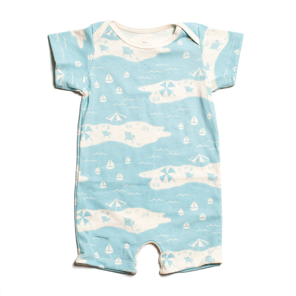 Winter Water Factory Beach Day Turquoise Short Sleeve Romper - Frolicstyle