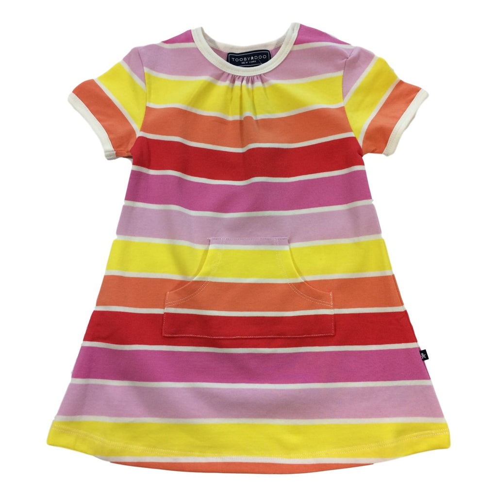 Toobydoo Short Sleeve Sun Stripe Dress - Frolicstyle