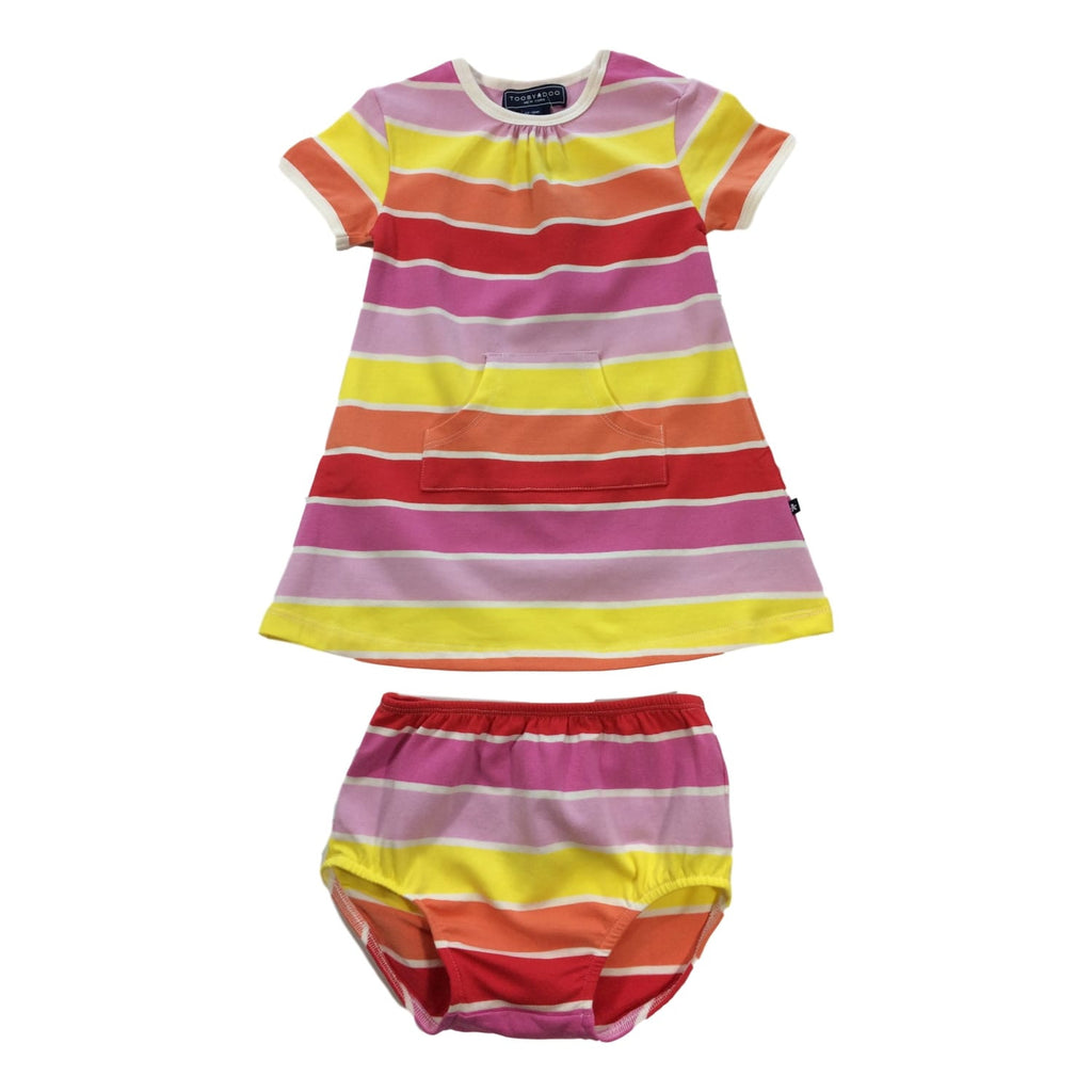 Toobydoo Short Sleeve Sun Stripe Dress - Baby - Frolicstyle