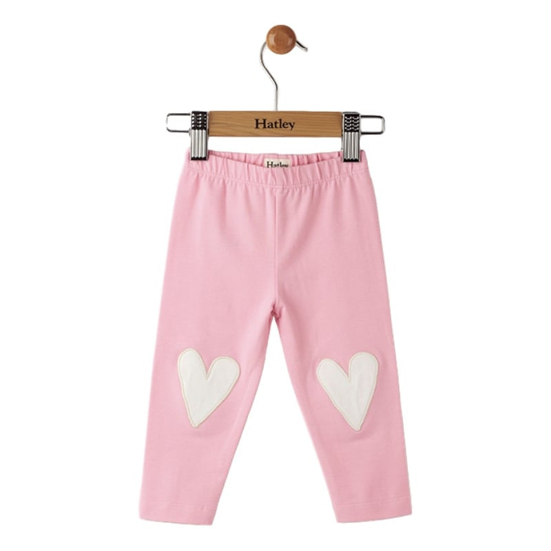 Hatley Baby Leggings - Pink With Heart Knee Patch Elastic Waist Ankle Length - Frolicstyle