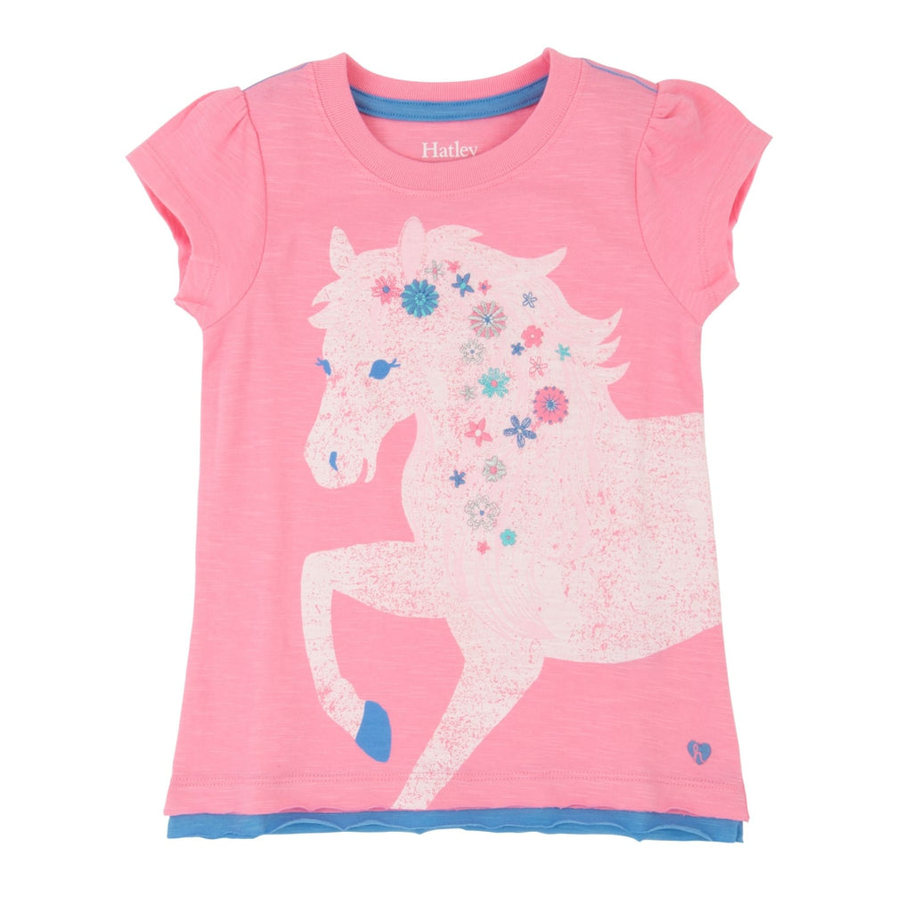Hatley Pink Short Sleeve Pretty Horse Graphic Tee - Frolicstyle