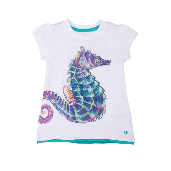 Hatley Watercolor Seahorse Graphic Short Sleeve Tee - Frolicstyle