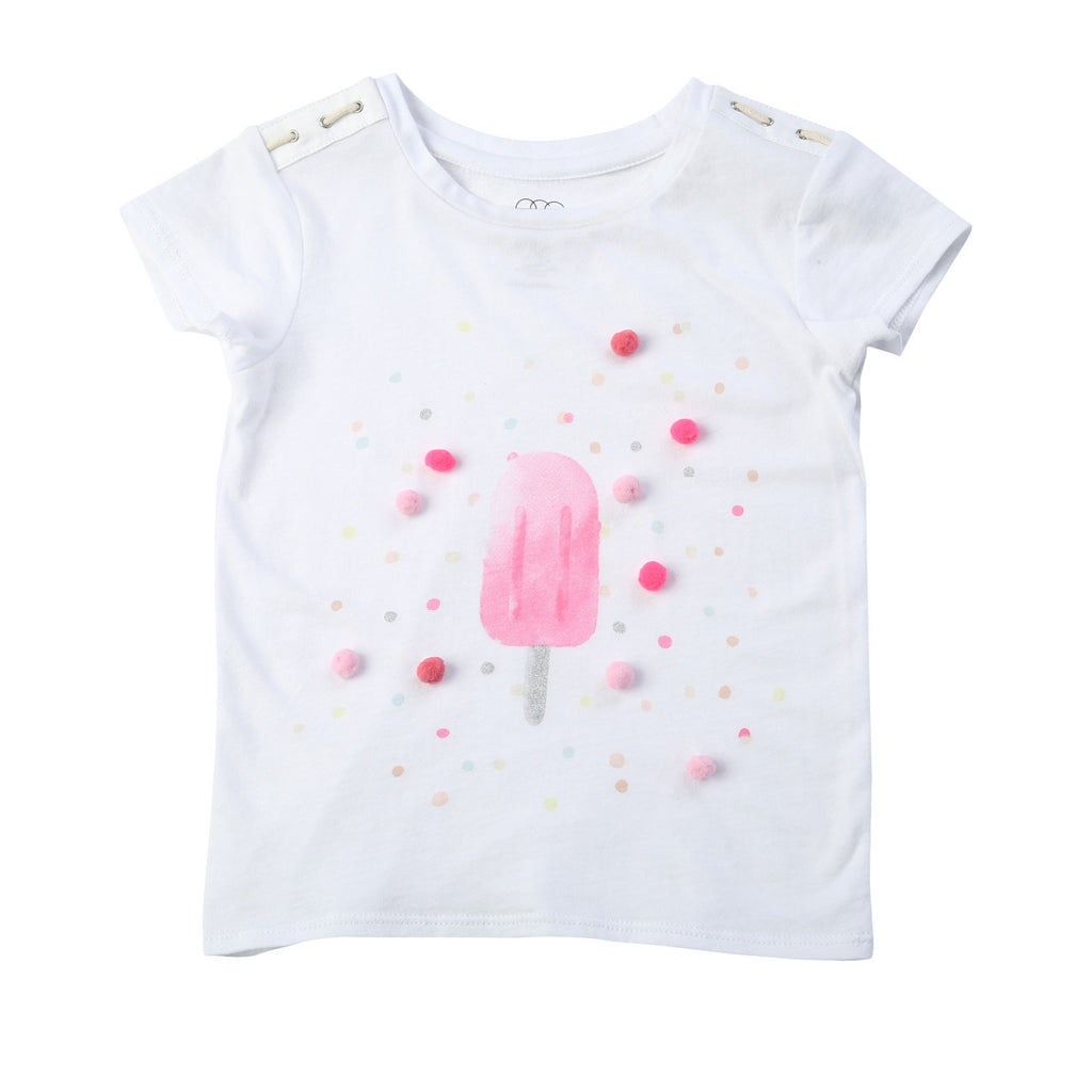 Egg Baby Tara White Short Sleeve Popsicle Graphic Top - Frolicstyle