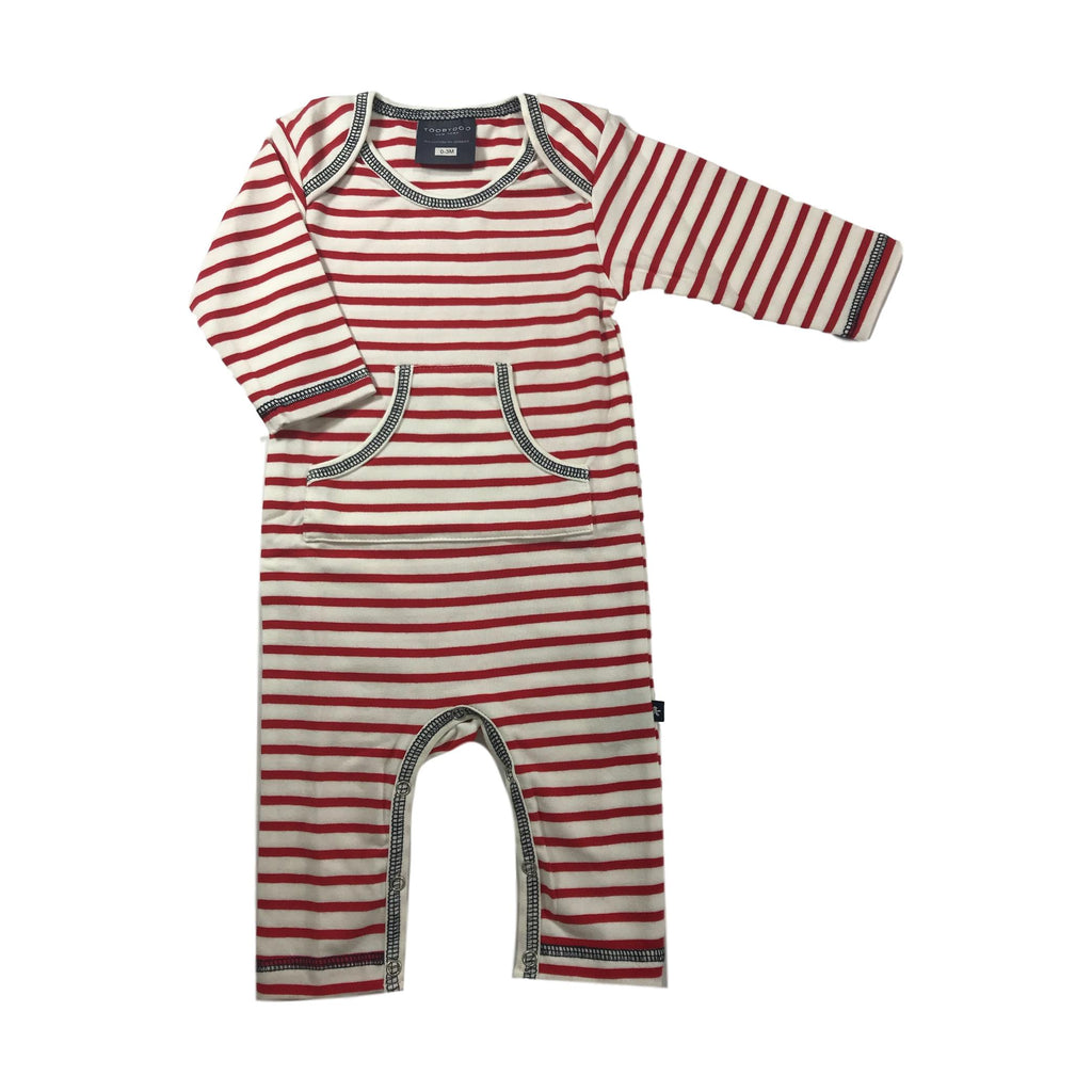 Toobydoo Long Sleeve London Red Stripe Jumpsuit