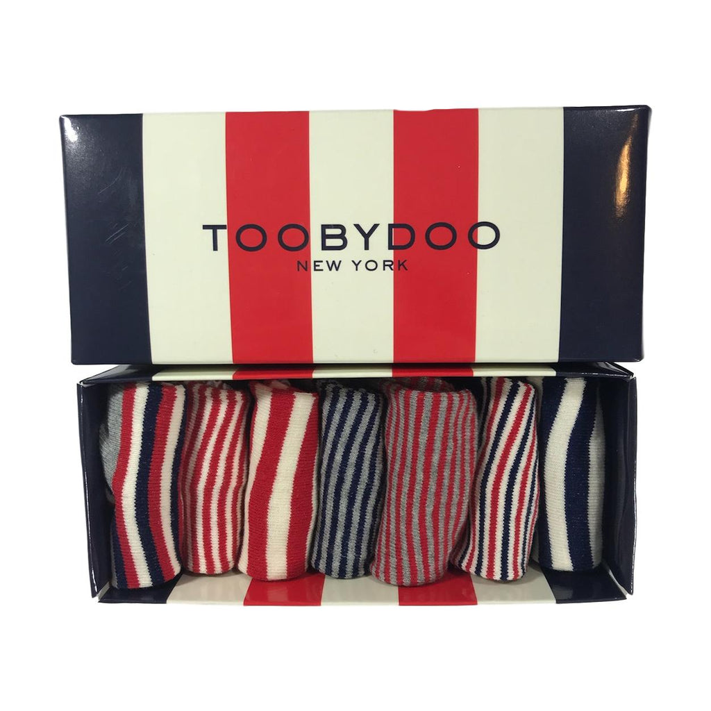 Toobydoo Baby Socks 7 Count Red, White, Blue Stripes - Frolicstyle