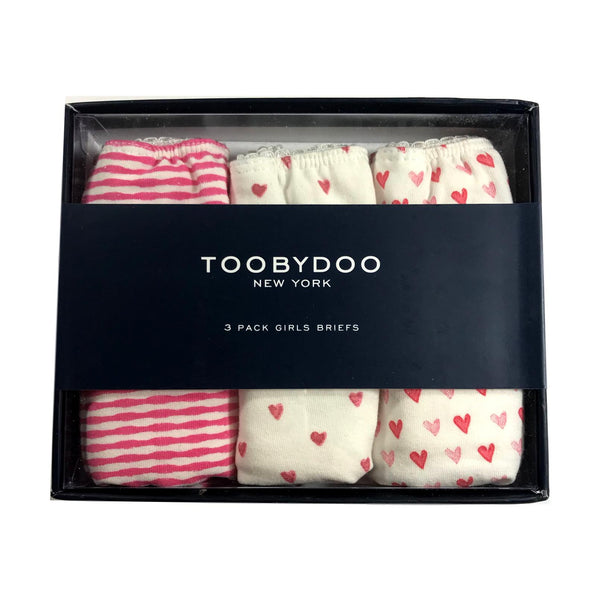 e23230e31ffd0a Toobydoo Girls 3 Pack Pink Hearts Underwear - Frolicstyle