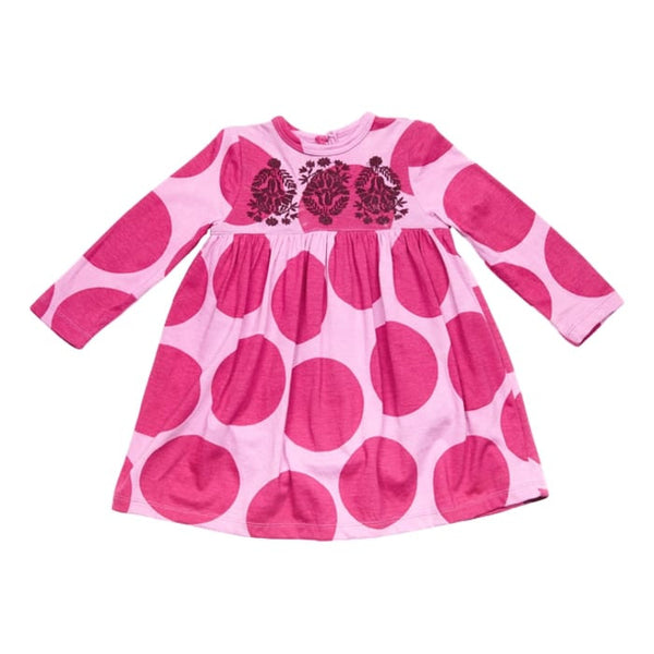 Pink Chicken Anna Boysenberry Dot Long Sleeve Girls Dress - Frolicstyle