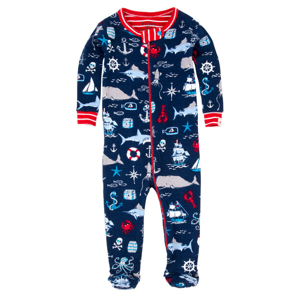 Hatley Navy Nautical Organic Cotton One Piece Pajamas - Frolicstyle