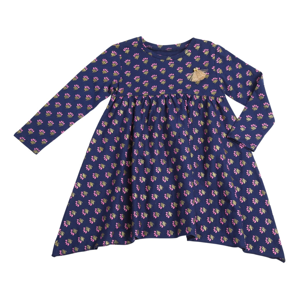Egg Baby Piper Girls Long Sleeve Dress In Navy Blue - Frolicstyle