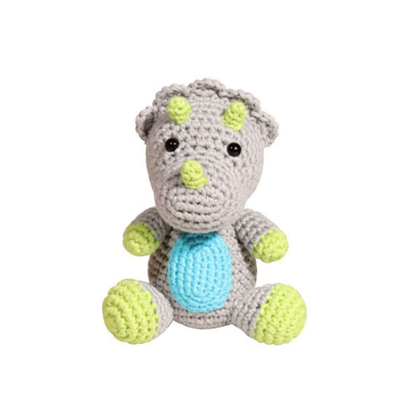 "Zubels 4"" Triceratops Crochet Dimple Rattle"