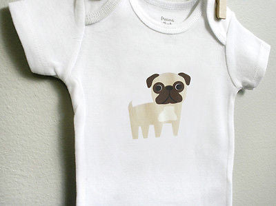 Pug Baby Bodysuit Romper One Piece for Baby Boy or Baby Girl Long or Short Sleeve 3, 6, 9 12 Months - square paisley design
