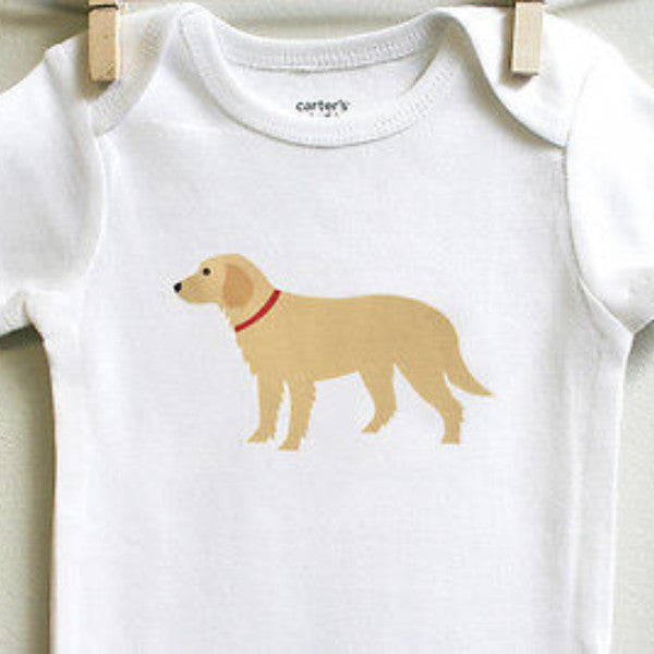 Golden Retriever Baby Clothes for Baby Boy or Baby Girl - square paisley design