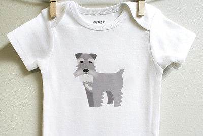Schnauzer Baby Bodysuit for Baby Boy or Baby Girl, Long or Short Sleeve, 3,6,9,12 Months - square paisley design