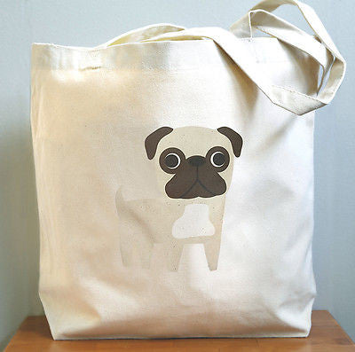 Pug Canvas Tote Bag - squarepaisleydesign