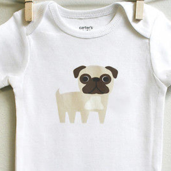 Pug Baby Bodysuit for Baby Boy or Baby Girl - square paisley design