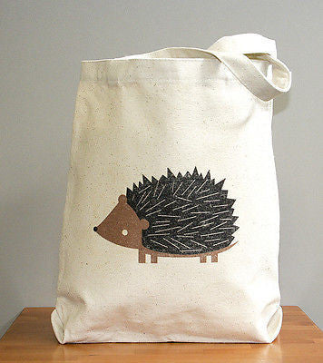 Hedgehog canvas tote bag - squarepaisleydesign