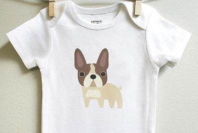 French Bulldog Baby Clothes for Baby Boy or Baby Girl - square paisley design