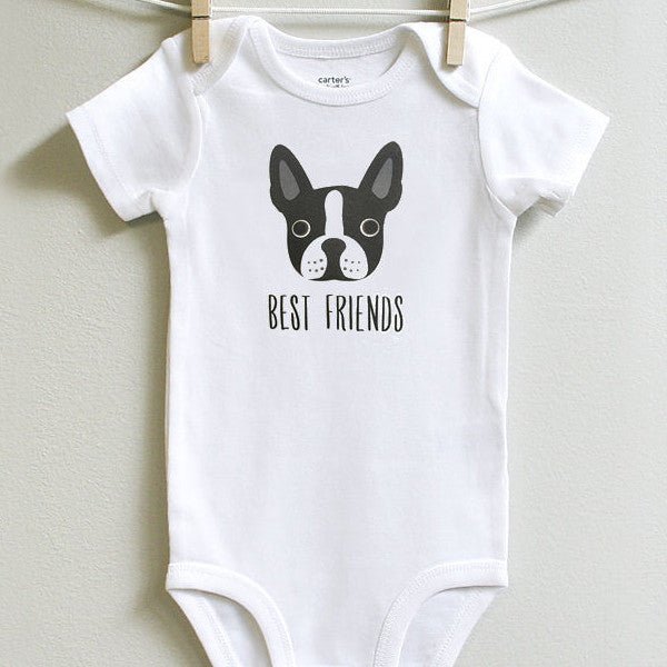"Darling Boston Terrier ""Best Friend"" Baby Bodysuit - squarepaisleydesign"