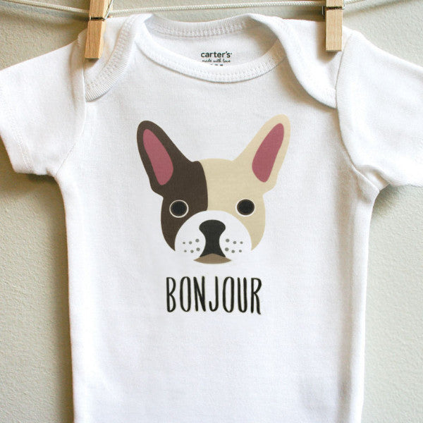 French Bulldog baby bodysuit, 3 months - 12 months - square paisley design