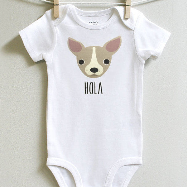 Chihuahua Baby Onesie Bodysuit Romper for Baby Boy or Baby Girl Long or Short Sleeve 3 - 18 Months - square paisley design