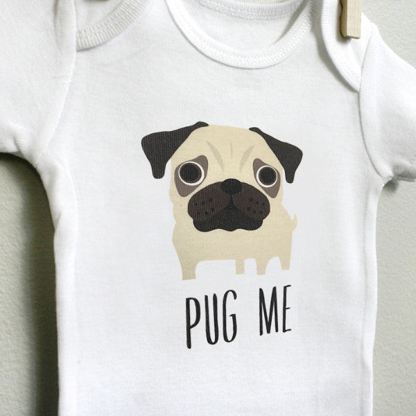 Pug Me Pug Baby Bodysuit for Baby Boy or Baby Girl, Long or Short Sleeve, 3,6,9,12 Months - square paisley design