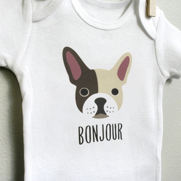 French Bulldog Baby Bodysuit Onesie Romper for Baby Boy or Baby Girl Long Short Sleeve 3, 6, 9, 12 Months - square paisley design