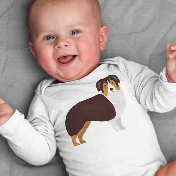 Australian Shepard baby bodysuit for baby boy or baby girl
