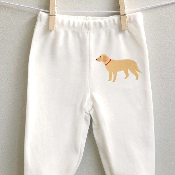 Golden Retriever Footed Baby Pants for Baby Boy or Baby Girl - square paisley design