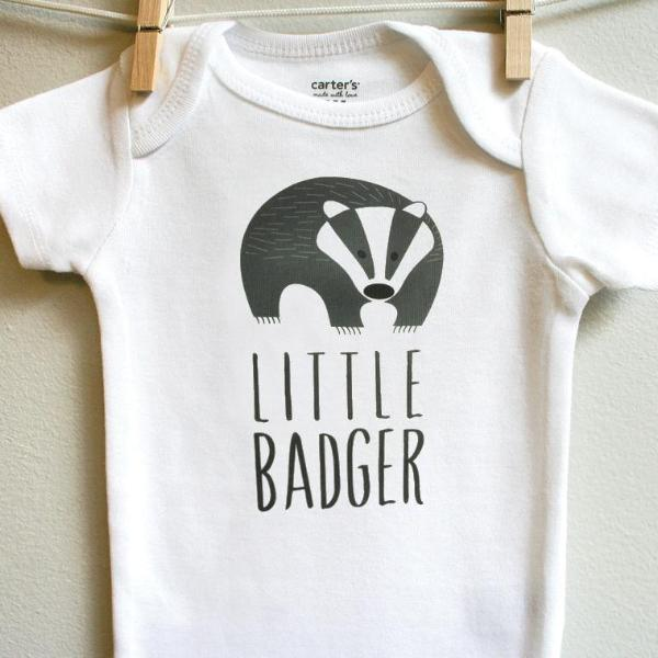 Little Badger Baby Clothes Bodysuit Romper for Baby Boy or Baby Girl Long or Short Sleeve 3, 6, 9, 12 Months - square paisley design