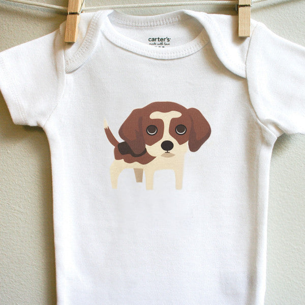 Beagle baby onesie for baby boy or baby girl - squarepaisleydesign