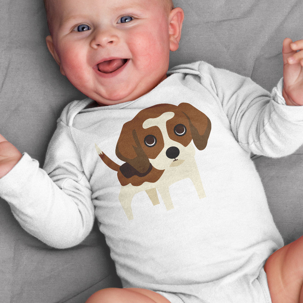 Beagle Baby Bodysuit for Baby Boy or Baby Girl - square paisley design