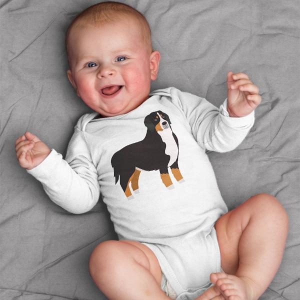 Bernese Mountain Dog Baby Bodysuit Romper One Piece - square paisley design