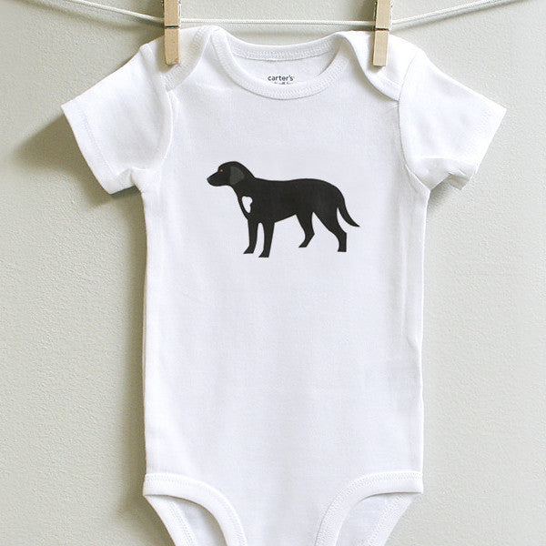 Black Labrador Baby Onesie Bodysuit Romper for Baby Boy or Baby Girl, Long or Short Sleeve, 3 - 12 Months - square paisley design