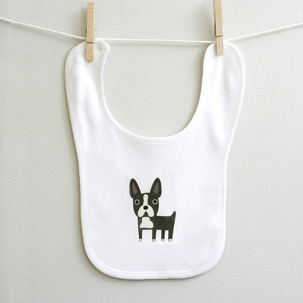 Boston Terrier Baby Burp Bib Made of 100% Cotton for Baby Boy or Baby Girl - square paisley design