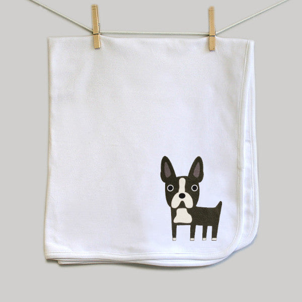 Boston Terrier baby blanket - squarepaisleydesign