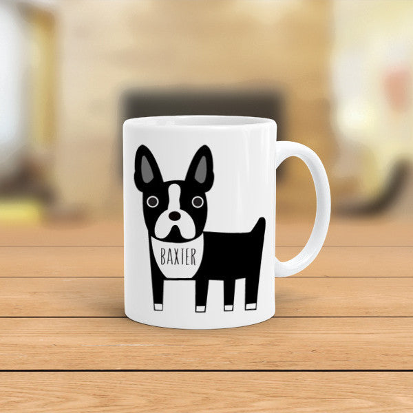 personalized boston terrier coffee mug