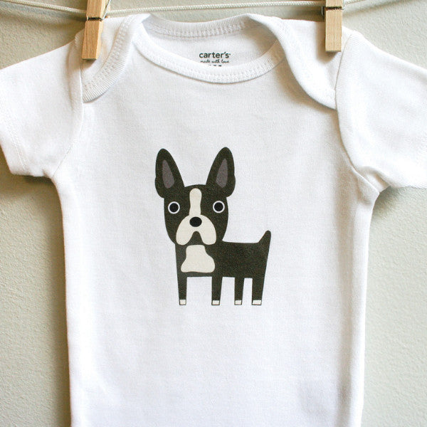 Boston Terrier baby clothes, Boston Terrier baby bodysuit for baby boy or baby girl - square paisley design
