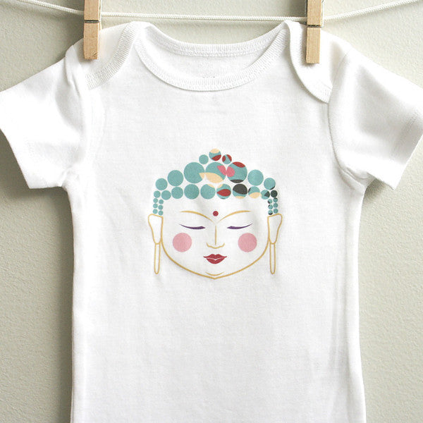 Buddha Baby Onesie Bodysuit for Baby Boy or Baby Girl 3 - 12 Months Long or Short Sleeve - square paisley design