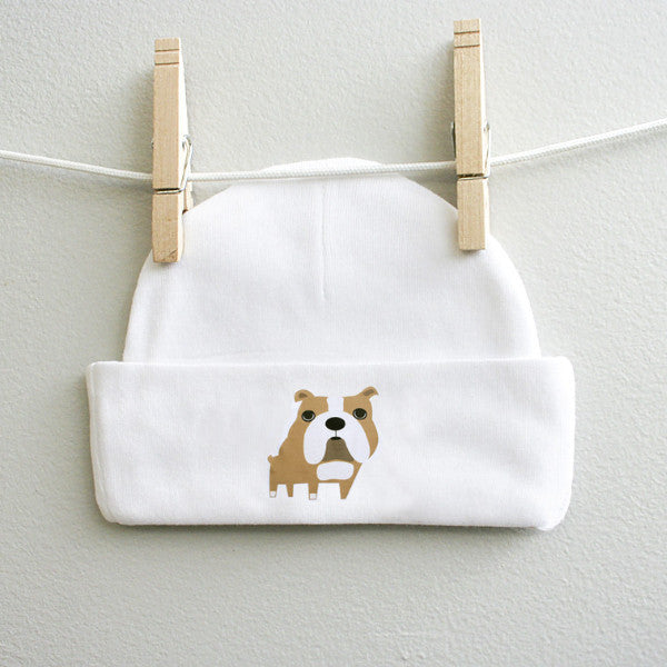 Bulldog Baby Skull Cap Beanie for Baby Boy or Baby Girl - square paisley design