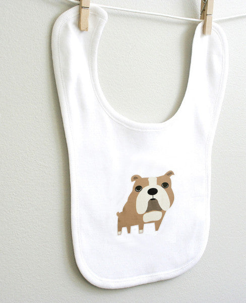 Bulldog Baby Burp Bib for Baby Boy or Baby Girl Baby Shower Gift - square paisley design