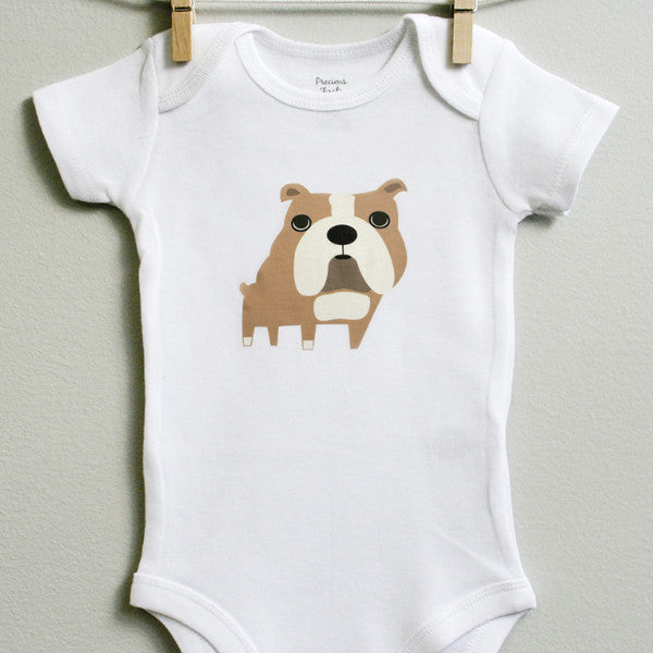Bulldog Baby Clothes for Baby Boy or Baby Girl - square paisley design