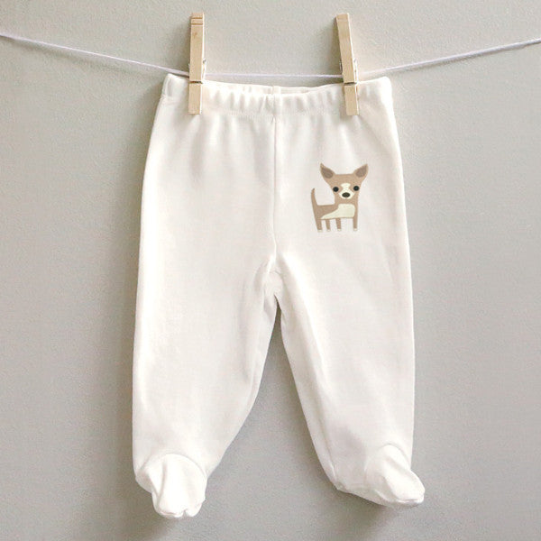 Chihuahua Footed Baby Pants for Baby Boy or Baby Girl - square paisley design