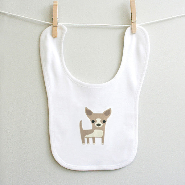 Infant baby burp bib featuring cute Chihuahua - squarepaisleydesign