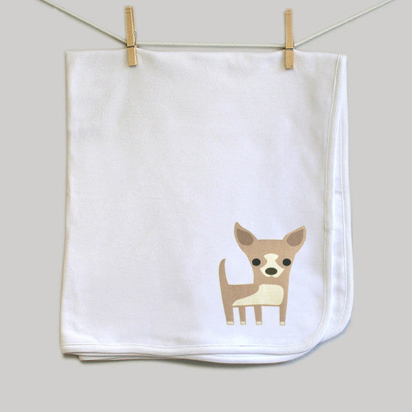 Chihuahua Swaddle Baby Blanket for Baby Boy or Baby Girl - square paisley design