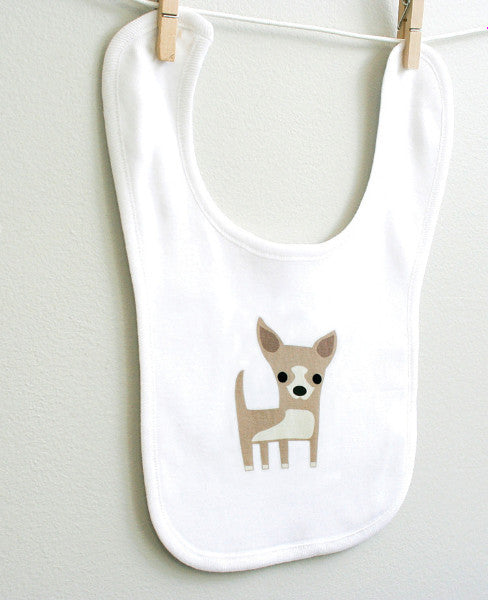 Chihuahua Baby Burp Bib for Baby Boy or Baby Girl - square paisley design