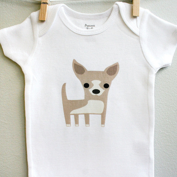Chihuahua Baby Clothes for Baby Girl or Baby Boy - square paisley design
