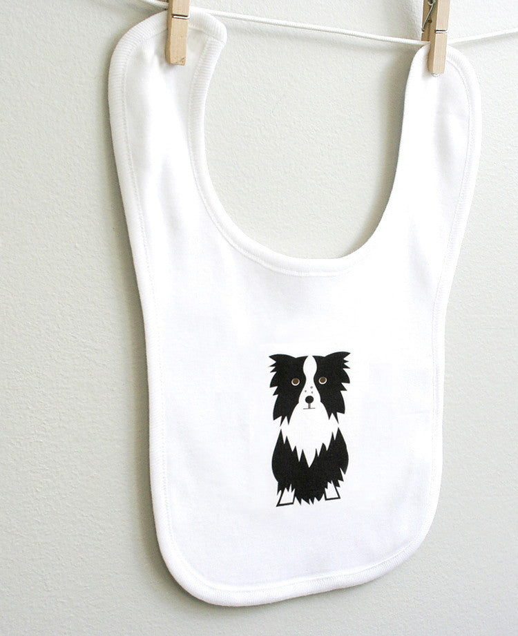 Border Collie Cotton Baby Bib for Baby Boy or Baby Girl - square paisley design